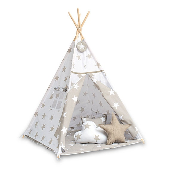 tipi enfants jouer tente tipi beige lumineux par funwithmum. Black Bedroom Furniture Sets. Home Design Ideas
