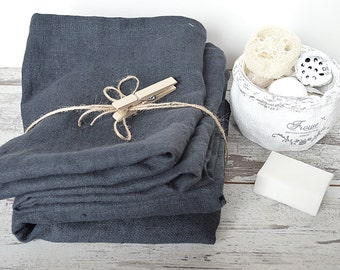 Thick Linen towels - Set of 3 - Charcoal blue linen towels - Simple rustic hand/face/tea towels - Washed rough linen - 100% linen  towels
