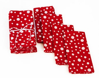 Cotton Napkins with Multi Sized White Dots on Red,  Snow Dot Napkins in Red and White, Red and White Dinner or Beverage Napkins