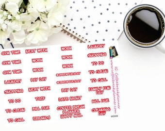 Planner Stickers in red  Various Words for your Planner and Journal Word Stickers Weekly Word Stickers WD009