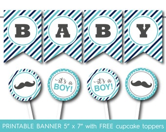 Turquoise and navy blue printable baby shower mustache banner with FREE matching mustache baby shower cupcake toppers, PB-552