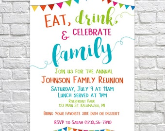 Printable Family Reunion Invitation, Summer Family Reunion, Reunion  Invitation, Family Party, Summer  Invitations For Family Reunion