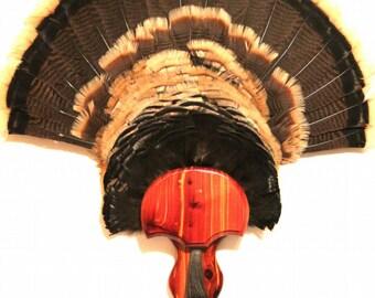 """Turkey Fan & Beard Plaque """"The Gobbler"""" - Aromatic Cedar Mounting Kit"""