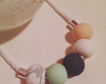 Mint, Peach and Marble Polymer Clay Necklace