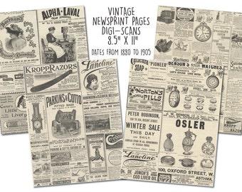 "4 Page Vintage Newsprint Digi-Scans (8.5"" x 11"")"