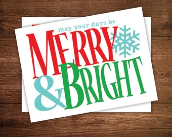 Merry & Bright Christmas Card - Holiday Greeting Card or Postcard - Printable or Printed