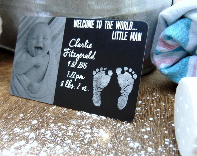 Birth Announcement Card- Photo Engraved Wallet Card, with footprints, new baby Boy,Girl, Family gift, Bulk pricing and package deals, baby