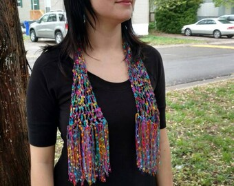 Rainbow Summer Scarf Crochet Summer Scarf.