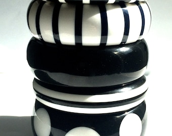 Rsv'd for K- 3 Black & White Striped Bangles (solid black and dot not included)