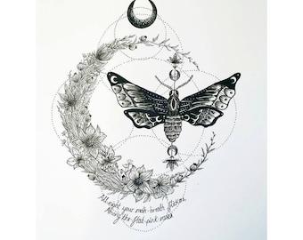Moth and moon Illustration print