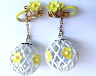 Flowers Birdcage Yellow And White Earrings