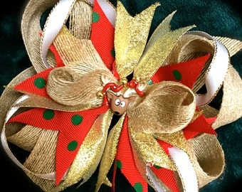 BURLAP Christmas Hair Bow~SHIMMER
