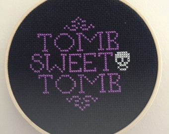 Disney Haunted Mansion Inspired Tomb Sweet Tomb Cross Stitch Hoop Art - Made to Order