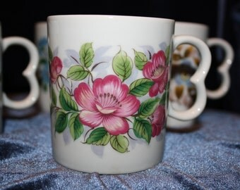 60's Japan Floral Mugs with Heart Handles Set of 5