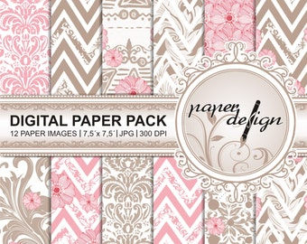 "SALE romantic bloom ""digital paper"" pack ""SALE"" Printable ""Background"" Scrapbook Paper 7,5 x 7,5 Zoll #31"