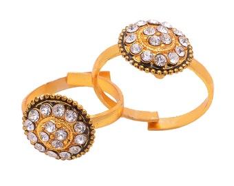 Golden AD Designer Toe Rings