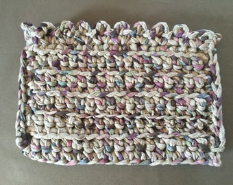 Bag crochet colorful grey clutch