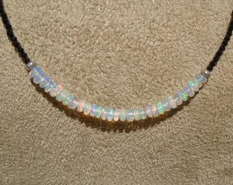 Opal Necklace, Opal Choker, Firey Ethiopian Opal Choker, Black Spinel Choker, Black Choker, October Birthstone, Dainty Choker