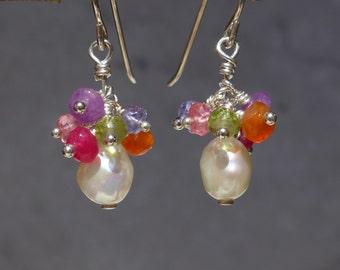 Holiday Earrings, Festive Earrings, Freshwater Pearl Earrings, Cluster Earrings, Christmas Earrings, 1012
