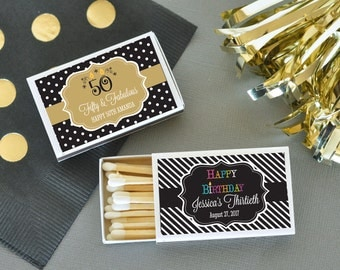 50 Personalized Birthday Match Boxes (set of 50)