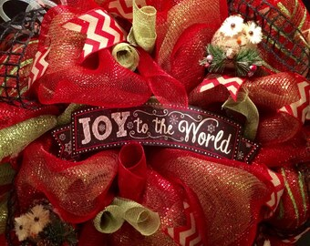 Christmas deco mesh wreath, red and green wreath, christmas wreath