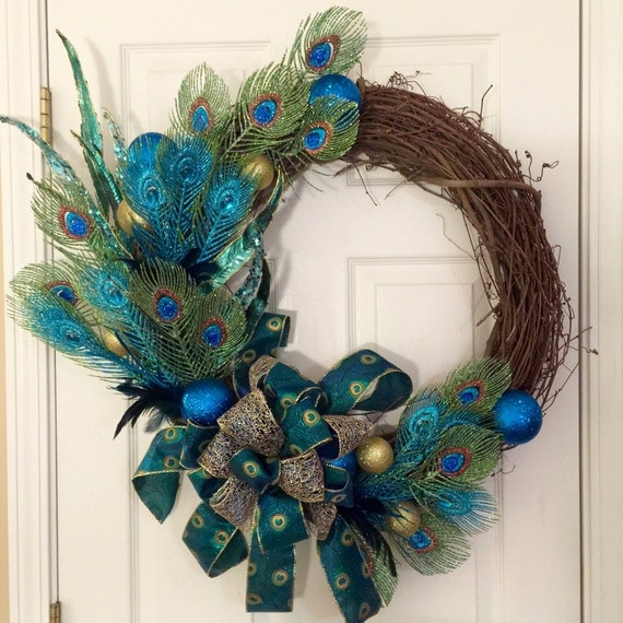 Peacock grapevine wreath christmas