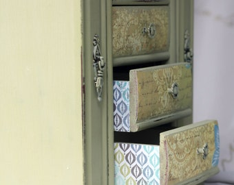 Vintage Upcycled Decoupage Double Door Jewelry Box