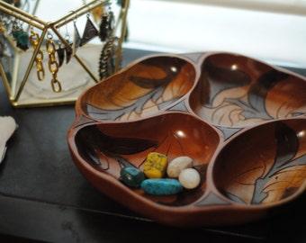 Handmade wooden flower bowl