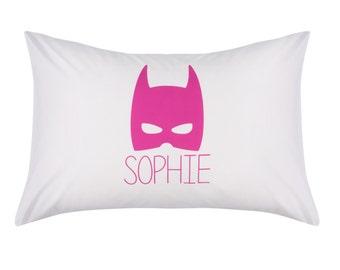 Batman Batgirl Pillowcase | Kids Pillows | Pink Bedding | Personalised Batman Pillow Case | Cotton | Batman Bedding | Kids Pillows