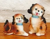 Anthropomorphic PY Brown Cocker Spanel Puppies Salt and Pepper Shakers  from Japan circa 1950's
