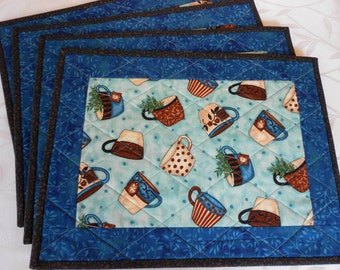 Tea Cup theme Quilted Placemats,with green, blue and brown colors/Set of Four