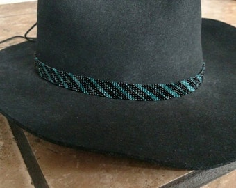 Black and blue beaded cowboy hat band