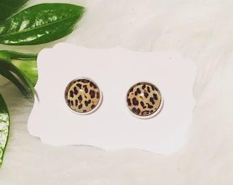 Pretty 12mm glass cabochon earrings! Leopard