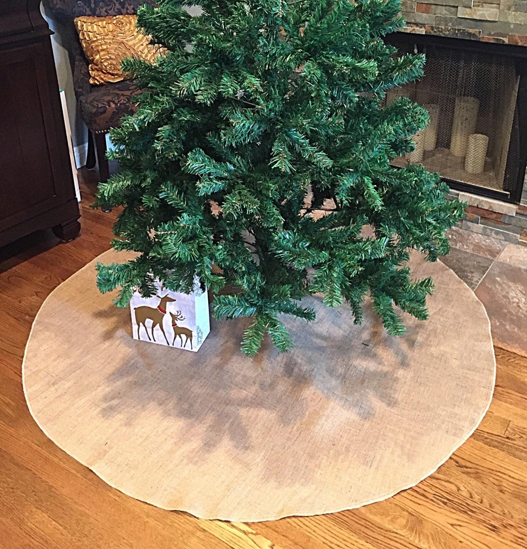 Burlap Christmas Tree Skirt Sack Decor Jute Rustic Diff Sizes