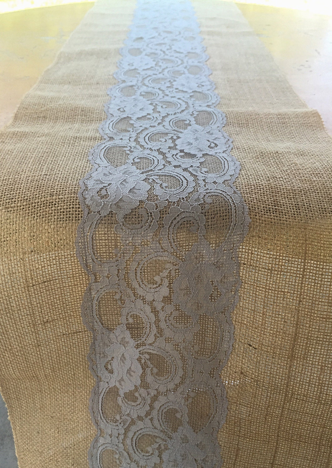 Table Runner, Burlap And Lace Table Runner, Wedding Decor, Light Grey Lace,  Rustic Decor, Rustic Wedding, Lace, Burlap