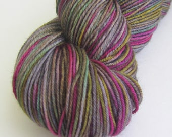 "Hand dyed sock yarn in ""Haunted Garden"" colorway"