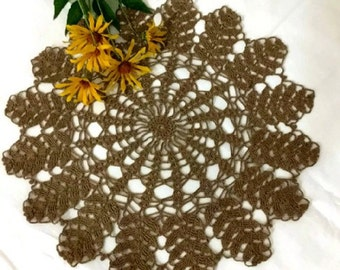 Brown Crochet Lace Doily New Modern Ecofriendly Doily Harvest Doilies Hand Crocheted Items Vintage Doilies Gift for her