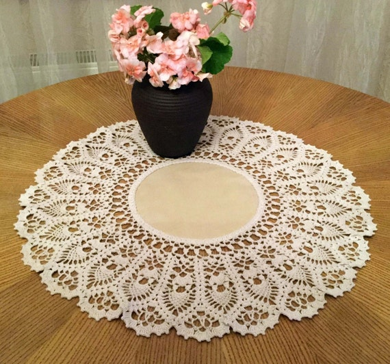 Free Crochet Patterns Round Table Toppers : Crochet lace doily 21 inches Round doily Crochet doily White
