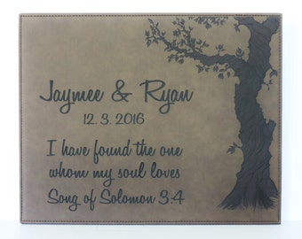 Song of Solomon 3rd Anniversary Leather Gift With Personalized Names and Established Date