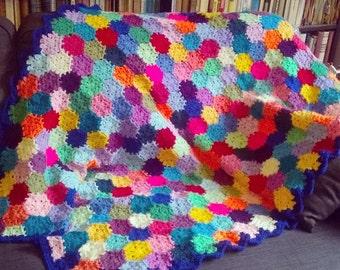 Colourful Hexagonal Granny Square Crochet Blanket