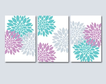Lavender Teal Bedroom Wall Art, Lavender Teal Floral Wall Art, Lavender Floral Wall Art, Lavender Nursery Wall Art-  UNFRAMED Set of 3