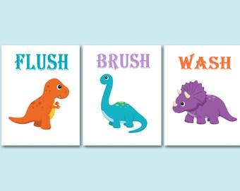 Dinosaur Bathroom Wall Art, Dinosaur Kids Bathroom Wall Art, Boy Bathroom Wall Art, Dinosaur Bathroom Decor, Dino Bathroom-UNFRAMED Set of 3