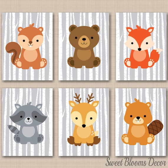 Woodland Nursery Wall Decor : Woodland nursery decor wall art