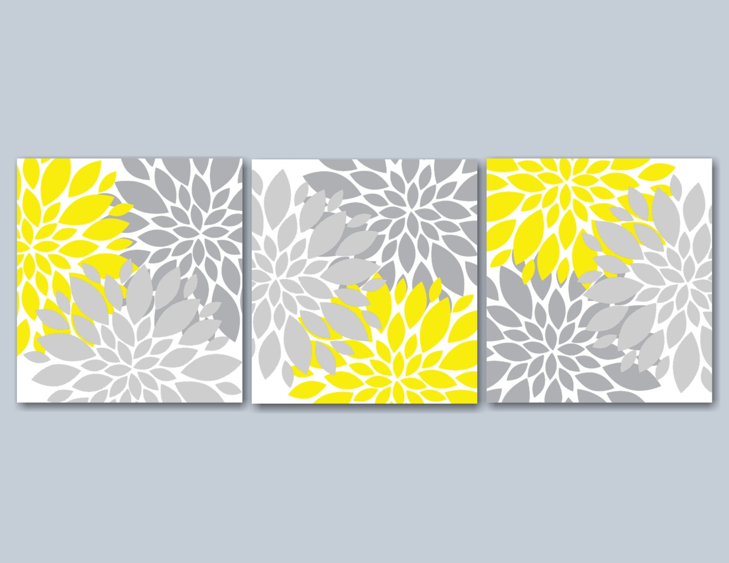 Yellow Gray Floral Wall ArtGray Yellow Wall By