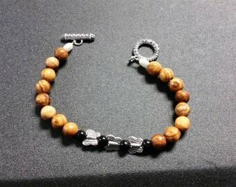 Butterfly wood bead bracelet