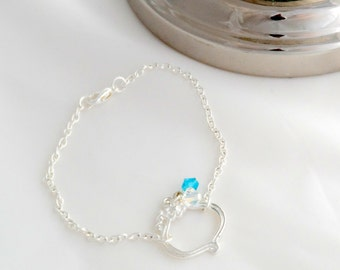 Silver Bracelet with Blue Crystals - Silver Friendship Bracelet