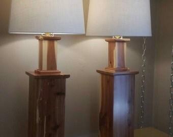 Set of Rustic Cedar Large Table Lamps