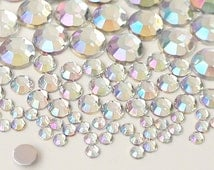 110pcs Mixed Size 3,5,8,10mm Acrylic Flatback Rhinestones Scrapbooking Nail Craft - Iridescent - Clear AB