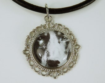Necklace dog dog face glass cabochon necklace on a black leather strap unique vintage jewelry Black and white dog vintage retro dogs