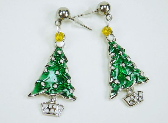 Earrings Christmas Christmas tree green tree Christmas ornaments silvery earrings